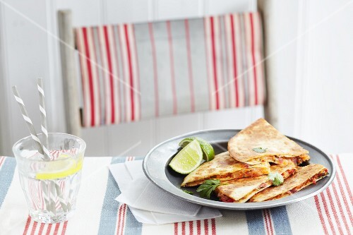 Quesadillas with lime, coriander, tomatoes, sweetcorn and crab