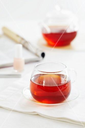 Redbush tea in glass cups