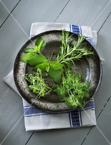 Herbs on a metal plate