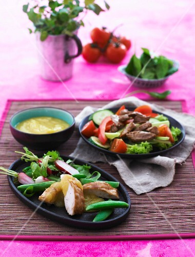 Apple and mango sauce with a crisp salad, duck and chicken