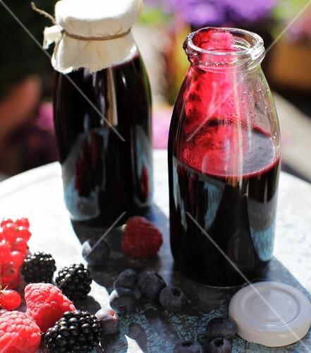 Homemade berry sauce made from summer berries