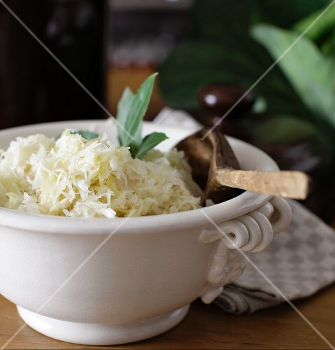 Homemade sauerkraut in a white porcelain bowl