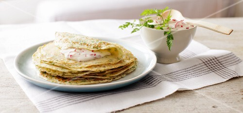 Wafer-thin chervil pancakes with radish sour cream