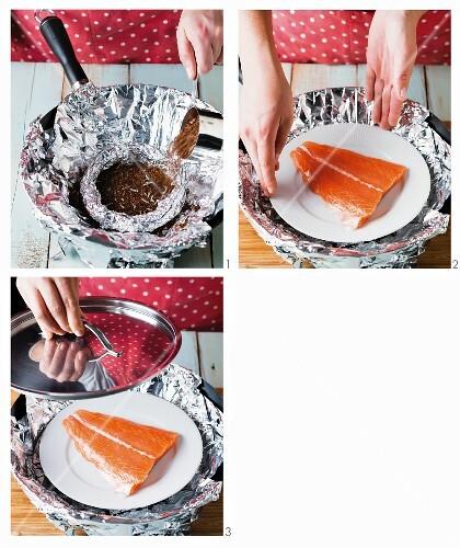 Tea-smoked fish being prepared