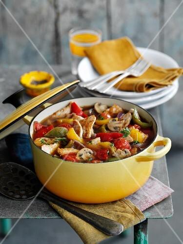 Vegetable stew with turkey (Caribbean)
