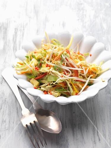 Süß-sauer mariniertes Gemüse mit Mungobohnensprossen