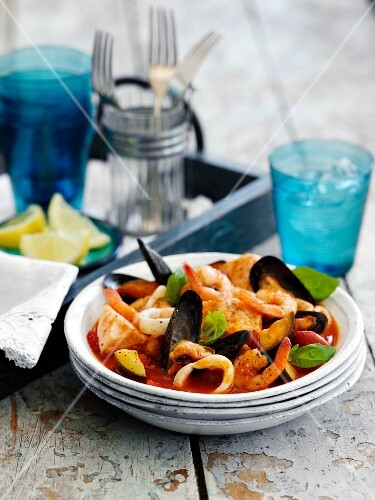 Seafood ratatouille with basil