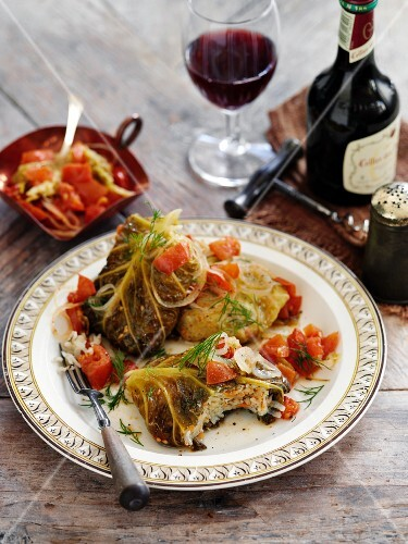Stuffed savoy cabbage leaves braised on a low heat