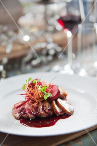 Duck breast with plums and red wine sauce