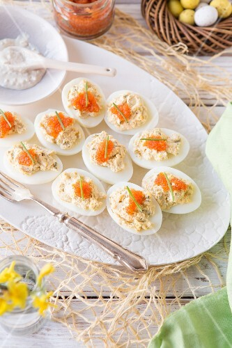 Stuffed eggs topped with caviar