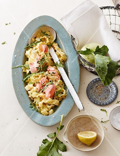 Mafaldine pasta with kohlrabi and salmon