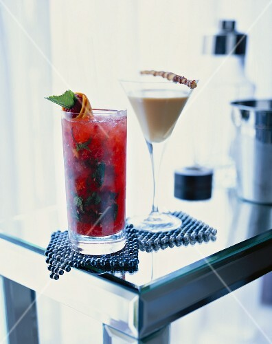 Two cocktails: Exotic Mint Julep and Italian Wake Up
