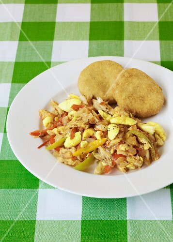Ackee and salt fish (traditional dish from Jamaica)