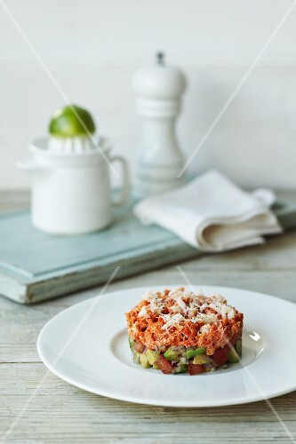 Avocado and tomato salsa with red onions and crab