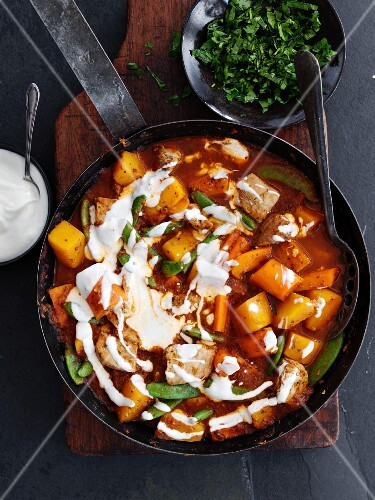 Turkey curry with butternut squash and yoghurt