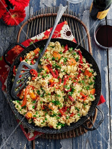 Vegetable paella in a pan