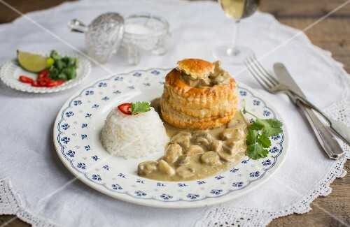 A vol-au-vent with a side of rice