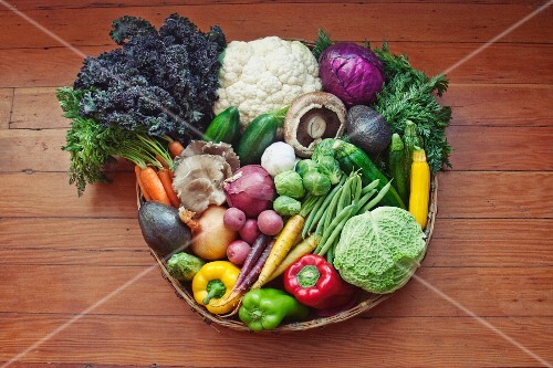 A basket of vegetables on a wooden surface