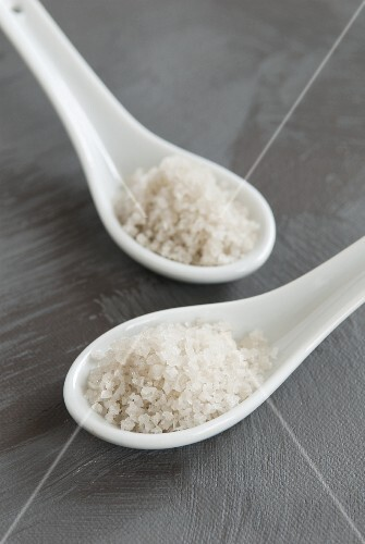 Corsican sea salt on spoons