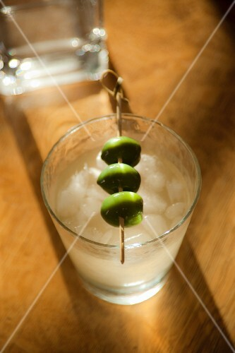 Dirty Martini with Four Skewered Olives