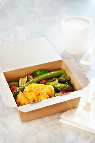 Roasted vegetables with halloumi in a takeaway box