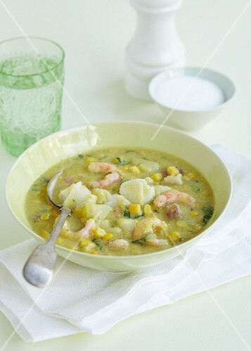 Vegetables stew with potatoes, sweetcorn and prawns