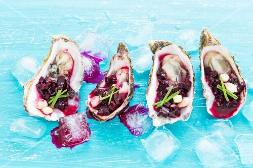 Oysters with beetroot salsa