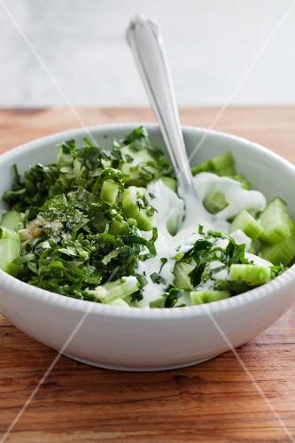 Cucumber salad with fresh parsley, garlic and yoghurt