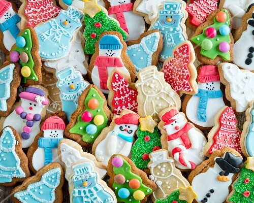 A selection of iced Christmas biscuits