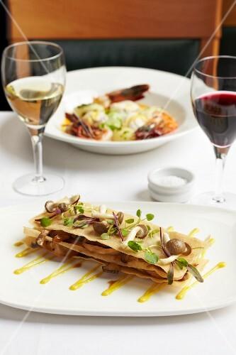 Mushroom lasagne with herbs
