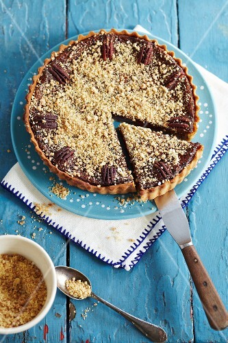Pecan Pie in Baking Dish with Slice Removed
