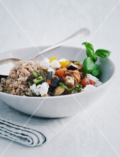 Ratatouille with Emmer rice and goat's cream cheese
