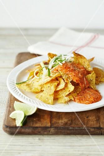 Tortilla chips with a shrimp sauce