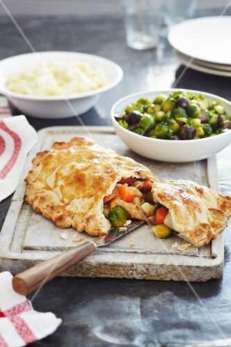 A puff pastry filled with turkey, root vegetables and Brussels sprouts