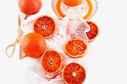 Blood oranges and an orange press