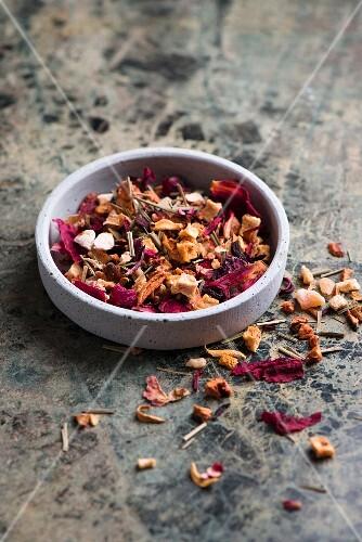A bowl of loose leaf tea