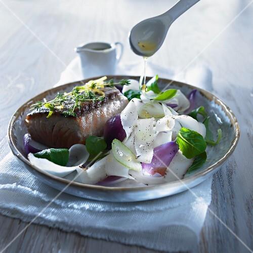 Black salsify salad with salmon