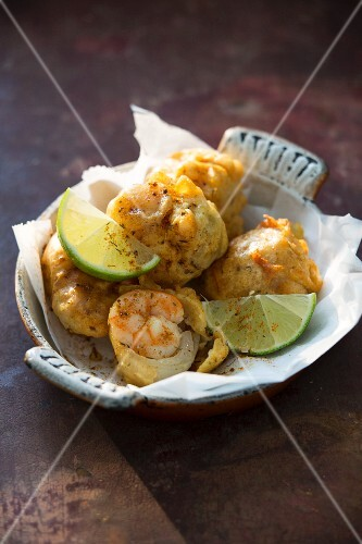 Prawns with shallots and limes