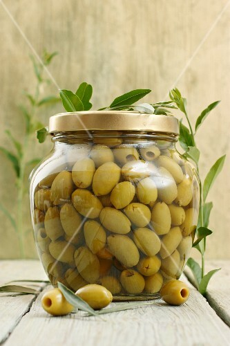 A jar of green olives