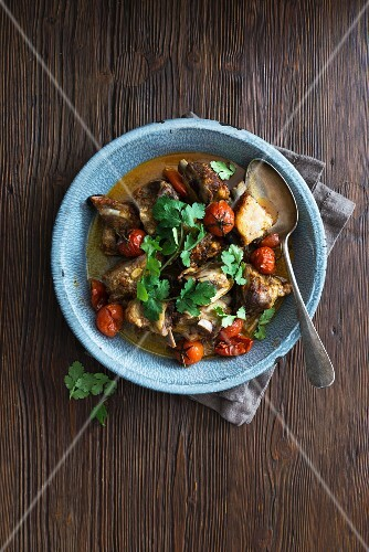 Lamb stew with cherry tomatoes and coriander
