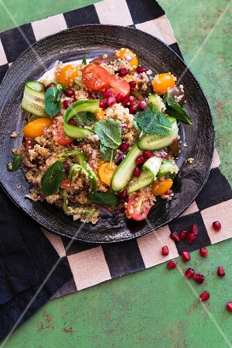 Quinoa salad with vegetables and mint