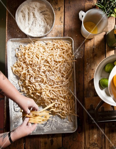 Tagliatelle being laid out to dry, Café Paradiso, Cape Town