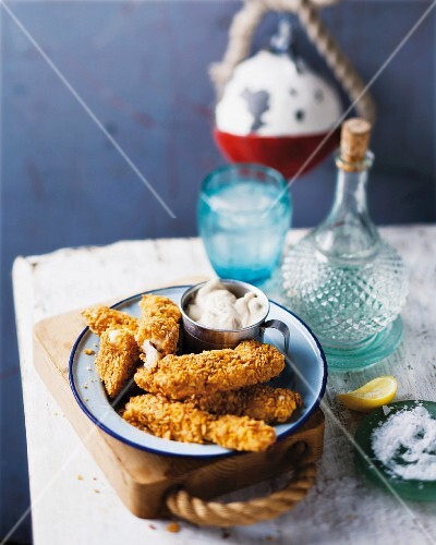 Fish fingers with a cornflake coating