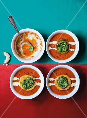 Roasted tomato soup with Parmesan cream and pesto croutons