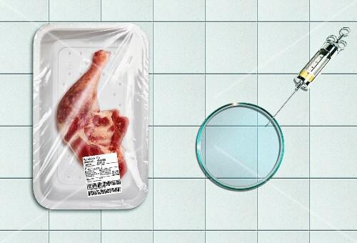 Chicken next to a syringe (food manipulation)