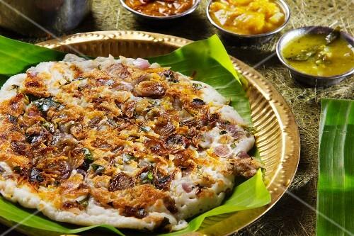 Uttapam (spicy rice pancake, India)