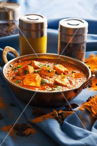 Shahi paneer (cream cheese in a creamy tomato sauce, India)