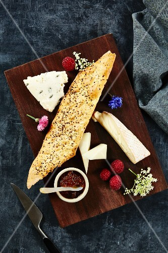 A cheese platter with fig chutney