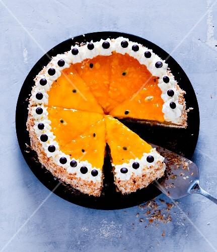 Passion fruit and mango cake, sliced