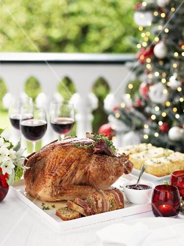 A Christmas turkey on a terrace